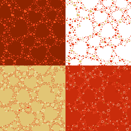 boundless: Vector set of seamless Valentines patterns. Romantic backgrounds of doodles hearts. Boundless background can be used for web page backgrounds, wallpapers, congratulations and invitations.