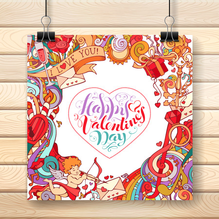 there: Happy Valentines Day! Love romantic background. Cupid, gift, ring, gold key, swirls and ribbons, music notes and others symbols. There is place for your text in the center. Illustration