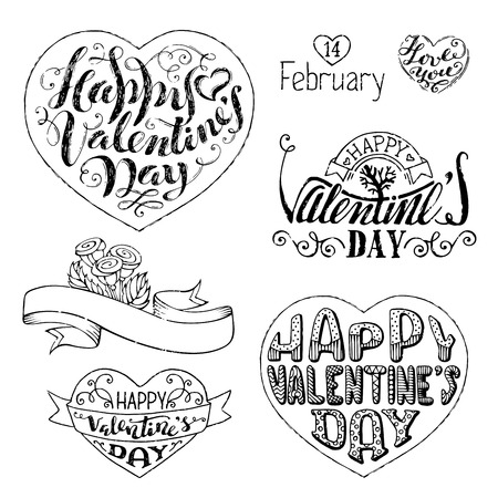 phrases: Happy Valentines Day! Vector set of hand-written love phrases, hearts, ribbons and flourishes. Sketch grunge pencil lettering isolated on white background. Illustration