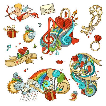 clave sol: Cupido, globos, notas musicales, las nubes, arco iris, sol, llave y la cerradura, cadena, beso, Carta, el lazo, anillo, copa de vino, remolinos.