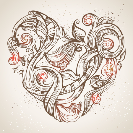 pencil drawing: Hand-drawn vintage heart illustration. Ornate pencil flourishes on old paper background. Valentines or wedding template.