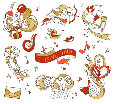 llave de sol: Vector set of love doodles design elements isolated on white background. Gold and red. Cupid, balloons, music notes, clouds, sun, key and lock, chain, kiss,  letter, ribbon, ring, glass of wine, swirls. Vectores