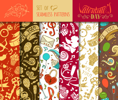 boundless: Vector set of seamless love patterns. Boundless backgrounds for your Valentines Day designs. Can be used for web page backgrounds, wallpapers, wrapping papers, congratulations and invitations.