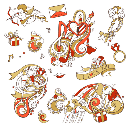 llave de sol: Vector set of love doodles design elements isolated on white background. Gold and red. Cupid, balloons, music notes, clouds, rainbow, sun, key and lock, kiss, ribbon, ring, glass of wine, swirls.