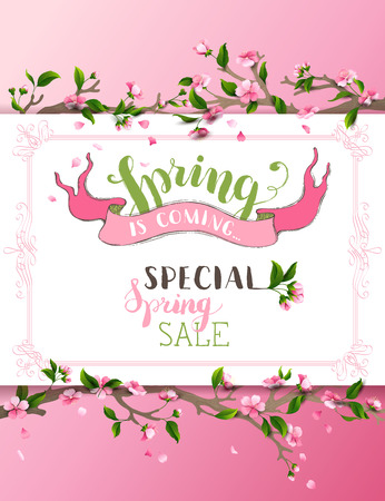 Vector spring background. Pink cherry blossoms on tree branches. Calligraphic frame. Hand-written brush lettering. There is place for your text on white paper.