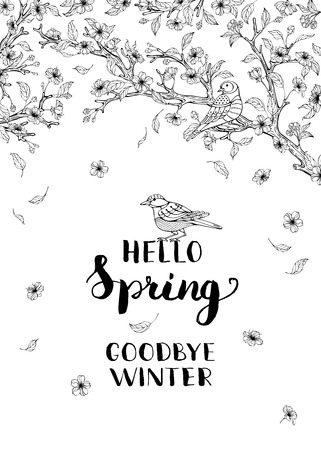 goodbye: Hello spring, goodbye winter! Spring blossoms and birds on tree. Flying flowers and leaves. Hand-written brush lettering. You can place your text in the center. Coloring book for adults template.