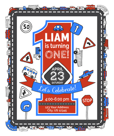 One year Birthday invitation for boy. Hand-drawn doodles road signs and cars. Red and blue vector illustration.