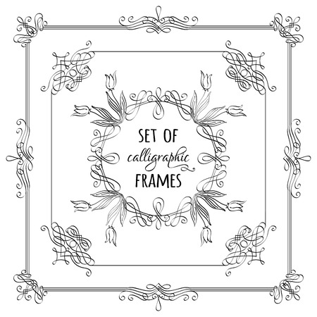 black borders: Vector set of hand-drawn calligraphic frames. Vintage ornaments, design elements, flourishes, ornamental page decorations and dividers. Can be used for invitations, congratulations and cards. Illustration