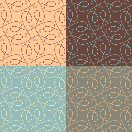boundless: Vector set of linear calligraphic seamless patterns. Hand-sketched vintage ornaments. Boundless background can be used for web site background, wrapping paper, invitation and congratulation.