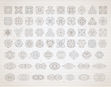 old page: Vector set of vintage design elements and page decorations. Hand-drawn geometric ornaments and symbols on old striped paper background.