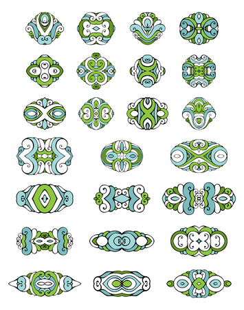 coloured background: Set of coloured design elements and page decorations. Vintage geometric ornaments and symbols. Isolated on white background. Illustration