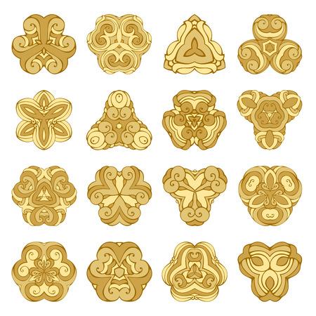 triangular: Vector set of gold ornamental mandalas. Geometric triangular design element isolated on white background. Illustration