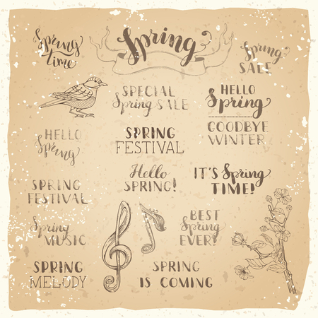spring season: Vector set of hand-written spring brush lettering on old vintage paper. Hello spring. Goodbye winter. Its spring time. Best spring ever. Special spring sale. Spring festival. Spring is coming.