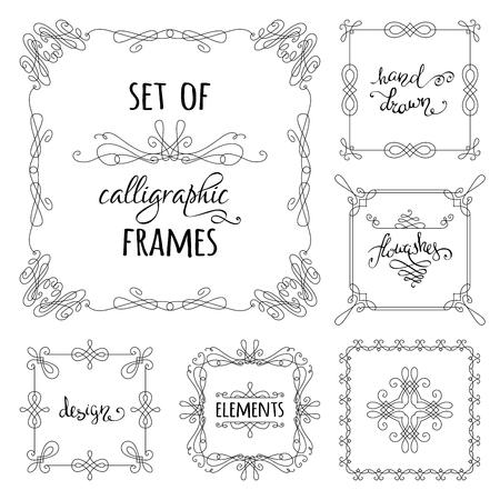 Vector conjunto de marcos caligráfico dibujado a mano. Ornamentos de la vendimia lineales, elementos de diseño, florece, decoraciones de página ornamentales y separadores. Puede ser utilizado para las invitaciones, felicitaciones y tarjetas.