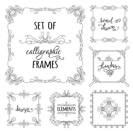 invitation background: Vector set of hand-drawn calligraphic frames. Vintage linear ornaments, design elements, flourishes, ornamental page decorations and dividers. Can be used for invitations, congratulations and cards. Illustration