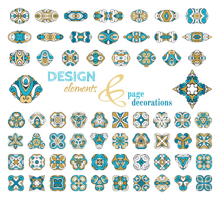 indian tattoo: Vector set of geometric ornaments. Vector set of vintage geometric ornaments. Design elements and ornamental page decorations. Blue and gold.  Isolated on white background.