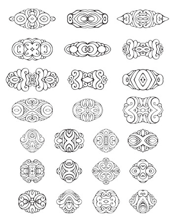 Set of ornamental geometric design elements and page decorations. Set of ornamental geometric design elements and page decorations. Vintage geometric ornaments and symbols. Isolated on white background. Black and white.