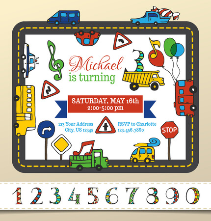 Vector Birthday invitation template for boy. Vector Birthday invitation template for boy. Hand-drawn doodles cars and road signs. Traffic frame. There is place for your text in the center. You can use numbers for your invitation design.