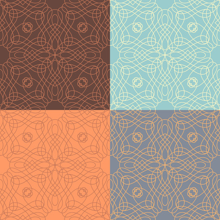 boundless: Vector set of outlined calligraphic seamless patterns. Hand-sketched vintage ornaments. Boundless background can be used for web site background, wrapping paper, invitation and congratulation. Illustration