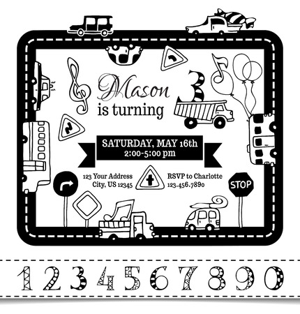 birth announcement: Vector Birthday invitation template for boy. Hand-drawn doodles cars and road signs. Traffic frame. There is place for your text in the center. Coloring book template. You can use numbers for your invitation design. Illustration