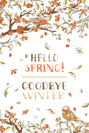Vector spring card template. Red blossoms and birds on tree branches. Falling petals and leaves. Hand-written brush lettering. There is place for your text.