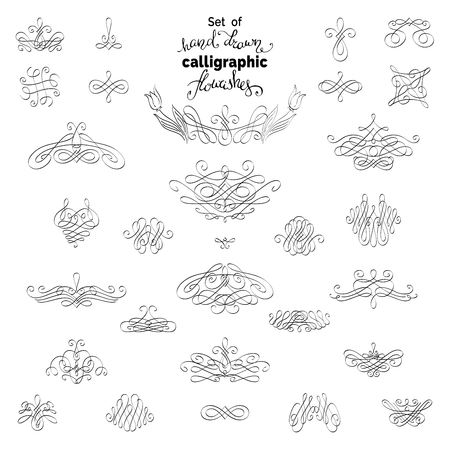 ornamental design: Set of calligraphic flourishes and ornamental design elements isolated on white background.
