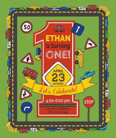Un anno di invito di compleanno per il ragazzo. Doodles disegnati a mano segnali stradali e automobili. Illustrazione vettoriale.