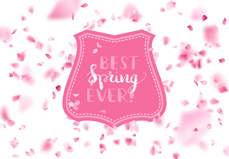 Vector spring falling petals background. A lot of petals fall down on white background. Pink badge in the center. There is place for your text. Vetores