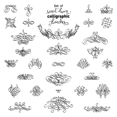 ornamental design: Vector set of hand-sketched page decorations and dividers. Set of calligraphic flourishes and ornamental design elements. Isolated on white background. Can be used for invitations and congratulations.