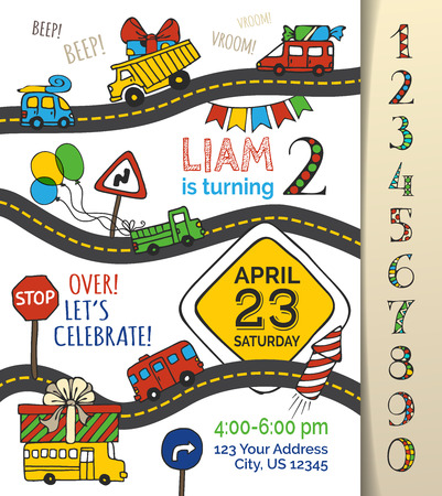 Vector Birthday invitation template for boy. Hand-drawn doodles cars and traffic signs, balloons and blowouts, garland and sweets, gift and firework. You can use numbers for your invitation design. Vectores