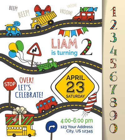 uitnodiging vector verjaardag sjabloon voor jongen. Hand-drawn doodles auto's en verkeersborden, ballonnen en klapband, slinger en snoep, cadeau en vuurwerk. U kunt nummers gebruiken voor uw uitnodiging ontwerp.