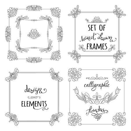duotone: Vector set of hand-drawn calligraphic frames. Vintage linear ornaments, design elements, flourishes, ornamental page decorations and dividers. Can be used for invitations, congratulations and cards. Illustration