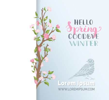 Hello spring paper card template. Pink blossoms on tree branches on paper background. Hand-written brush lettering. There is place for your text.