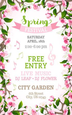 Vector Frühlingsfest-Vorlage. Blumenfeld. Helle rosa Kirschblüten auf vertikalen weißen Hintergrund. Sie können Ihren Text in der Mitte platzieren.