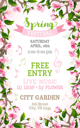 Vector spring festival template. Floral frame. Bright pink cherry blossoms on vertical white background. You can place your text in the center.