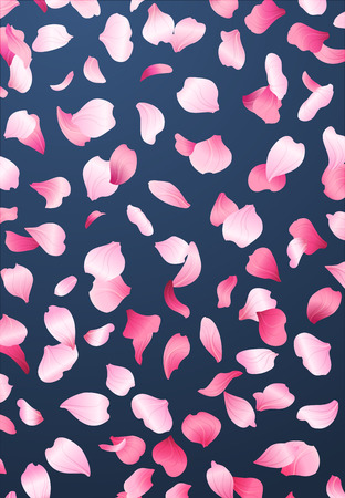 Pink rose petals background. A lot of falling petals on dark blue background.