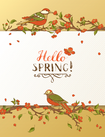 Hello spring card. Red blossoms and birds on tree branches. Falling petals. Hand-written brush lettering. There is place for your text on white paper.