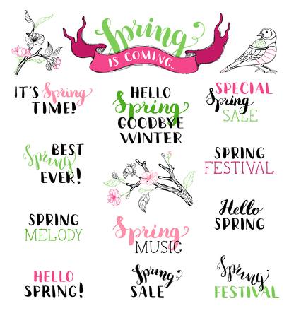Vector Reihe von handgeschriebenen Feder Pinselschrift. Hallo Frühling. Winter ade. Es ist Frühling. Beste Frühjahr je. Frühlings-Melodie. Spezielle Frühling Verkauf. Frühlingsfest. Frühlings-Musik. Der Frühling kommt. Vektorgrafik