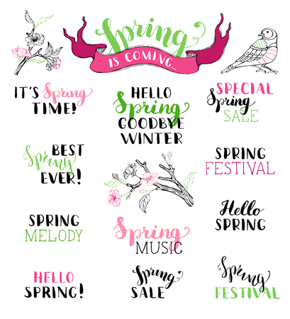 Vector set of hand-written spring brush lettering. Hello spring. Goodbye winter. It's spring time. Best spring ever. Spring melody. Special spring sale. Spring festival. Spring music. Spring is coming. Stock Illustratie