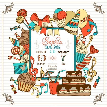 Vector birth announcement card template. Hand-drawn party blowouts and cakes, garlands and balloons, sweets, gift boxes and bows, music notes and firework. There is place for your text in the center.