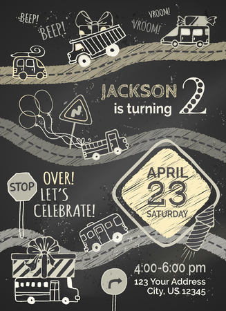 Vector chalk Birthday invitation template on blackboard background. Hand-drawn doodles cars and traffic signs, balloons and blowouts, garland and sweets, gift and firework.
