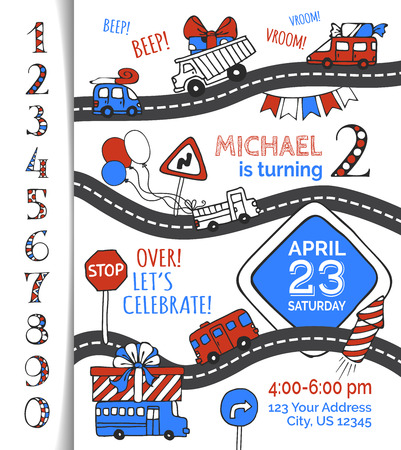 One year Birthday invitation for boy. Hand-drawn doodles cars and traffic signs, balloons and blowouts, garland and sweets, gift and firework. You can use numbers for your invitation design.