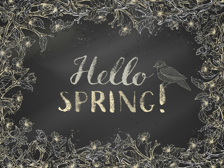 hello: Hello spring! Spring blossoms on branches on blackboard background. Vector card template. You can place your text in the center.
