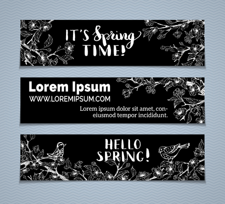 Vector set of chalk horizontal spring banners. Chalk sakura blossoms, leaves, birds and tree branches on blackboard background. Its spring time! Hello spring! There is place for your text.