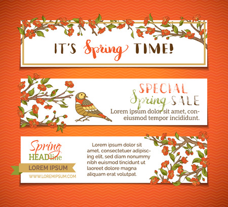 outdoor wedding: Vector set of horizontal spring banners. Red blossoms, leaves and birds on tree branches. Its spring time! Special spring sale. There is place for your text on white background.