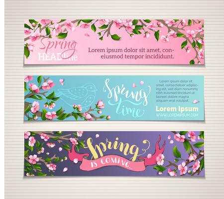 spring: Vector conjunto de banners verticales de primavera. cerezos en flor rosa y hojas en ramas de árbol. letras cepillo escrito a mano. El tiempo de primavera! La primavera está llegando. No hay lugar para el texto.