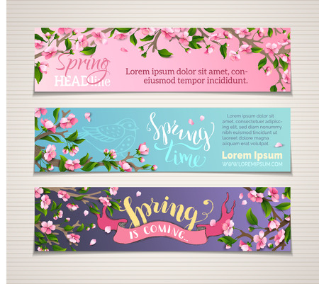 Vector set of vertical spring banners. Pink cherry blossoms and leaves on tree branches. Hand-written brush lettering. Spring time! Spring is coming. There is place for your text. Illustration
