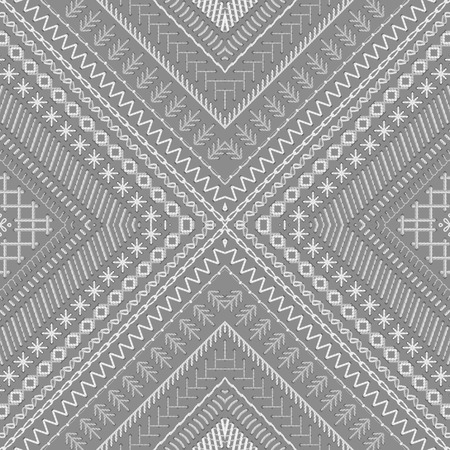 grey backgrounds: Vector high detailed grey and white stitches. Tribal art print. Embroidery pattern. Can be used for web page backgrounds, wallpapers, wrapping papers and invitations.