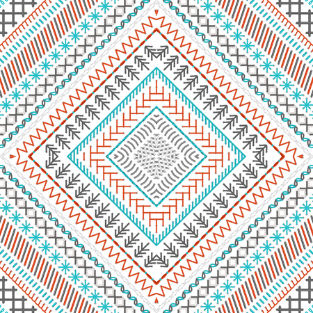 grey backgrounds: Vector high detailed stitches. Red, blue, grey and white. Tribal art print. Embroidery pattern. Can be used for web page backgrounds, wallpapers, wrapping papers and invitations. Illustration