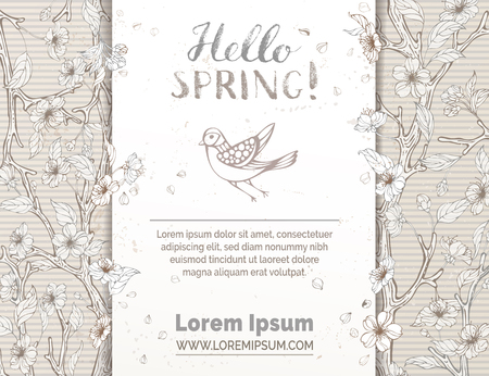 Hello spring! Spring blossoms and leaves on tree branches. Hand-drawn bird. Hand-written brush lettering. There is place for your text in the center.